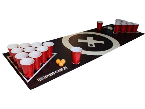 Beer Pong Tisch Matten Set Audio Table Design inkl. 70 Red Cups, 6 Beer Pong Bälle und Regelwerk