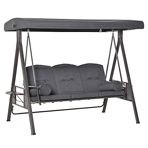 Outsunny Steel Swing Chair Hammock Garden 3 Seater Canopy w/Cushions Shelter Outdoor Bench Grey