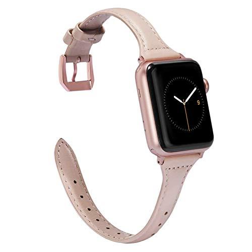 Wearlizer für Apple Watch 38mm Armband Leder, Echtleder Schlank für iWatch Straps Ersatz Lederarmband 38mm 40mm für Apple Watch Series 4 3 2 1 - Rosa Beige