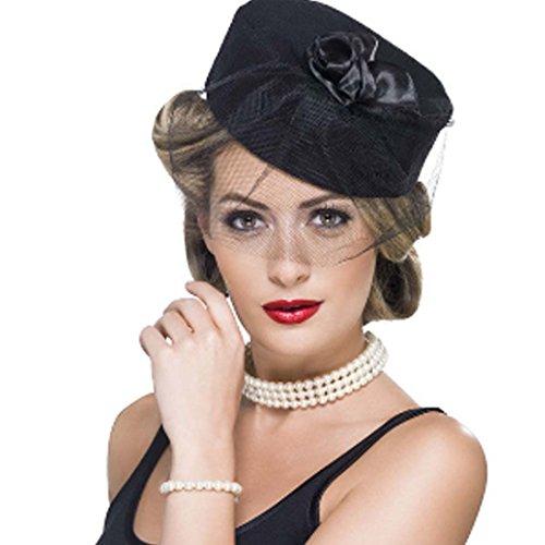 Amakando Collier de Perles avec Bracelet Baroque Set de Bijoux élégant années 20 Charleston Bijou Fantaisie Fifties Hollywood glamoureux Accessoire déguisement