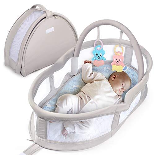 Lit Bébé, Berceau de voyage pliable, pour bébé Lit de voyage Play and Relax, Lit d'appoint léger avec Anneau de Dentition,1.5 kg, pour bébés de 0 à 3 ans size 80 * 47 * 43cm (gris)