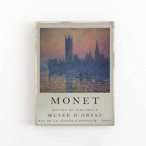 Cartel de la exposición de Monet, casas del parlamento de Londres, arte de calidad de galería, floral, jardín, arte de pared, lienzo sin marco, pintura Q-42 70x100cm