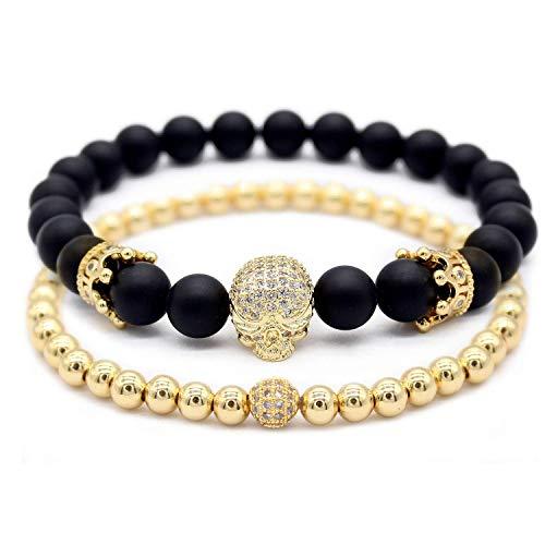 Gemfeel 8mm Natural Weathering Stone CZ Gold Elephant Bracelet Yoga Balancing Reiki Healing Jewelry 7.5