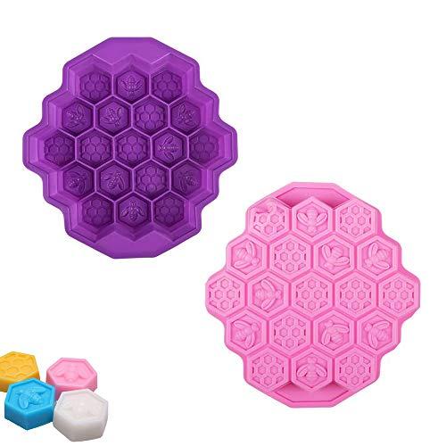 2 moldes de silicona con forma de panal de abeja, 19 celdas, para helados, gelatina, chocolate, magdalenas, galletas, dulces, jabón, manualidades, color morado y rosa