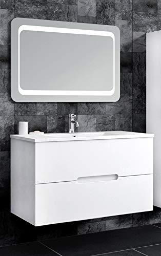 Oimex Tiana 90 cm Badmöbel mit LED Spiegel Hochglanz Weiß Badezimmer Set mit viel Stauraum Waschtisch Unterschrank Keramik Waschbecken
