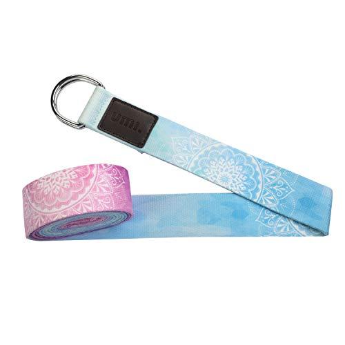 UMI. by Amazon -Correas de Yoga Ajustable Cinturón para Estiramientos, Algodon Correa para Ejercicios con Hebilla Metal D-Anillos 2mm Ultra Grueso