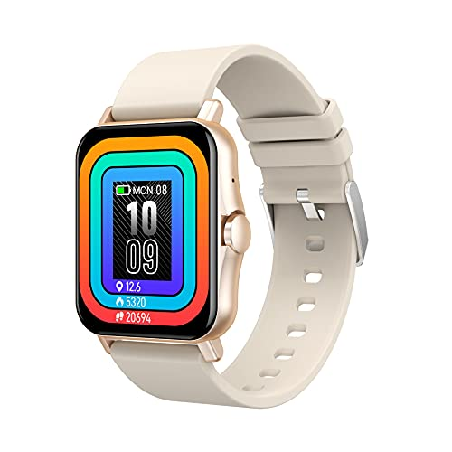 ACONAG Smart Watch para Mujeres/Hombres Bluetooth Recibir/Hacer monitoreo de la Salud Monitoreo de Temperatura de la Temperatura Tracker Pedómetro Compatible Android iOS (Color : Gold)