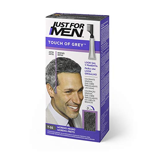 Just For Men, Touch of Grey, Tinte gradual que reduce parcialmente las Canas, Moreno Negro. Look sal y pimienta