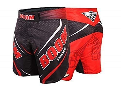 BOOM Prime Donna Pantaloncini MMA Muay Thai Lotta Kick Boxing Grappling Arti Marziali Cambio UFC Combattimento Allenamento Pantaloncini - Rosso, M - 31'-33' Waist