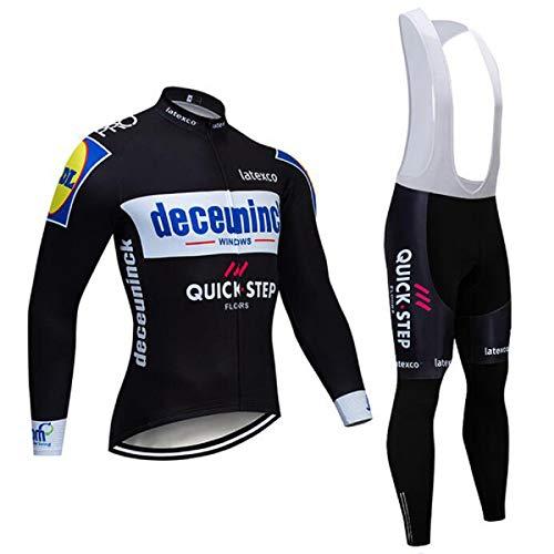 SUHINFE Maillot de Ensemble Cyclisme MancheLongue pour Homme, Cuissard Velo Equipe Pro Été