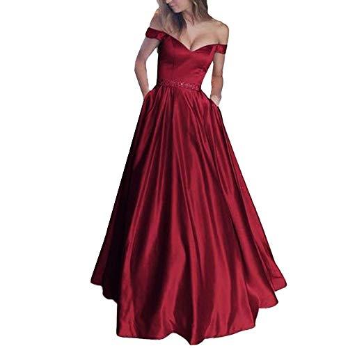 MRULIC Damen Reizvolle ärmellos Weste Normallack Spitze Feste Schlinge Partei Langes Kleid Schön Brautjungfernkleid Abendkleid(Weinrot,EU-40/CN-XL)