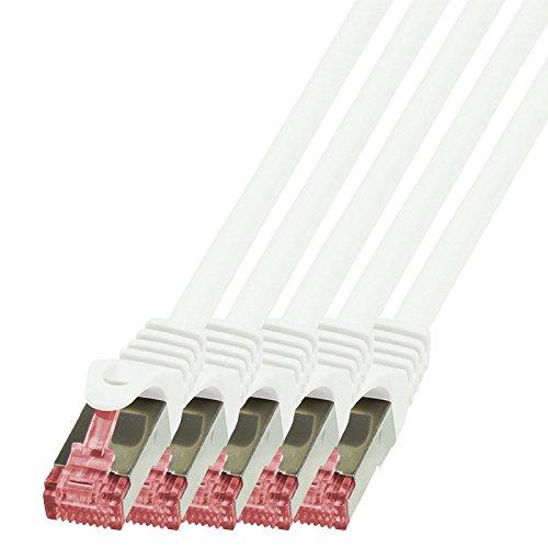 BIGtec - 5 Stück - 1,5m Netzwerkkabel Patchkabel Ethernet LAN DSL Patch Kabel Gigabit weiß (2X RJ-45 Anschluß, CAT6, doppelt geschirmt) 1,5 Meter
