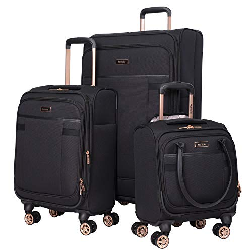 kensie 3 Piece Luggage Set, Black with Rose Gold