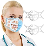 3D Mask Bracket -Silicone Face Mask Bracket-3D Mask Bracket Inner Support Frame for More Breathing Space,Keep Fabric off Mouth,Cool Lipstick Protection Stand,Reusable&Washable (white-2Pcs)
