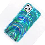 FOURTOC Funda para iPhone 11 Pro MAX, Glitter Rainbow Reflexión Iridiscente Degradado Caso de Shell Trasero,Verde,XS