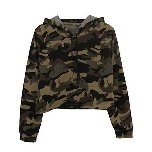 Schöne Camouflage Kapuzenpullover Patchwork O-Neck Sweatshirt für Damen Teenager Mädchen Lässige Kapuzenbluse Langarm Oberteile URIBAKY