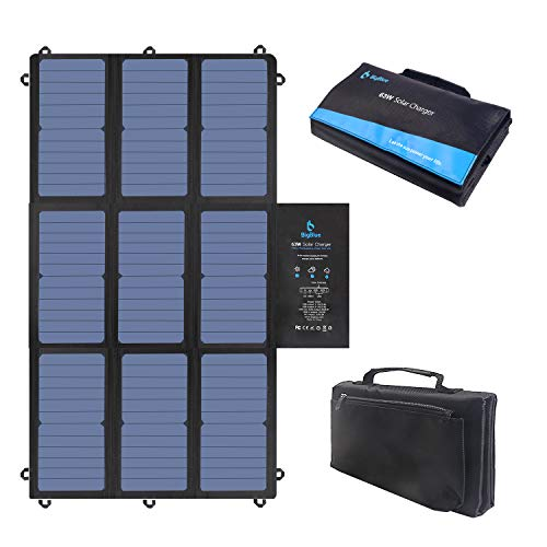 BigBlue 63W Portable Solar Charger with Waterproof SunPower Solar Panel(Dual 5V USB+19V DC Output+USB-C Port), Foldable Solar Phone Charger for Power Station, Tablet, iPad, 12V Boat/RV Battery