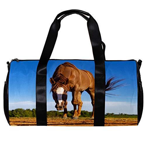 Bolsa de deporte redonda con correa de hombro desmontable para caballo animal campo de entrenamiento bolsa de noche para mujeres y hombres