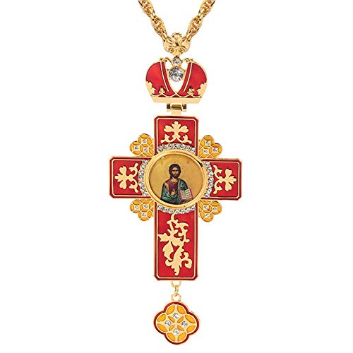 Klassische Kreuz-Männer-Halskette Vergoldete Handgefertigte Epoxy-Jesus-Ikone Griechisch-Orthodoxe Brustkette Mit Langer Kette 120 Cm