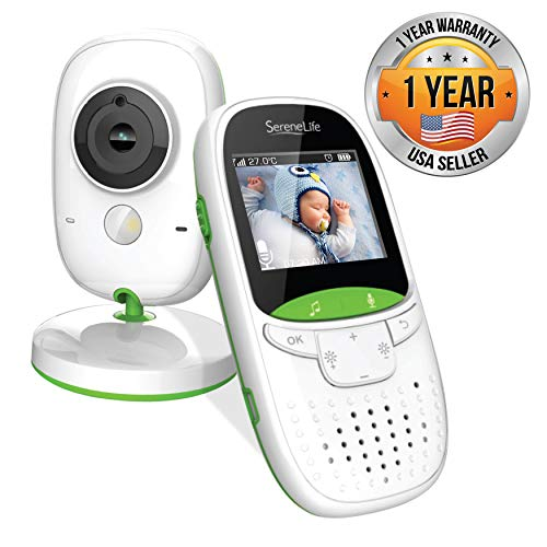 "SereneLife USA Video Baby Monitor - Upgraded 850' Wireless Long Range Camera, Night Vision, Temperature Monitoring and Portable 2"" Color Screen with Clip - SLBCAM10.5, Green Monitors"