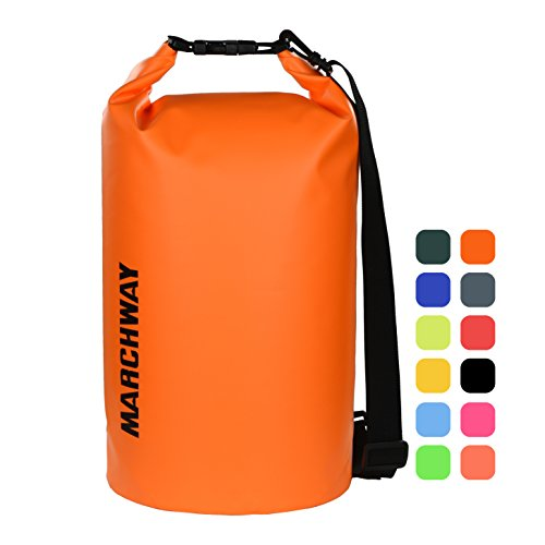 MARCHWAY Floating Waterproof Dry Bag 5L/10L/20L/30L, Roll Top Dry Sack for Kayaking, Rafting, Boating, Swimming, Camping, Hiking, Beach, Fishing, Skiing, Snowboarding (Deep Orange, 20L)