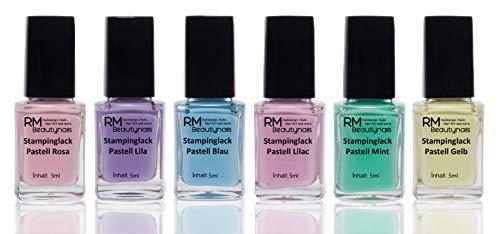 Esmalte de uñas para estampado, pack Pastel, 6 botellas de 4 ml – rosa, morado, azul, lilac, verde menta, amarillo