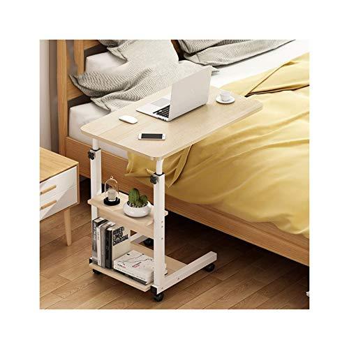 ALBBMY Laptopständer Mit Rollen Computertisch Schreibtich Pflegetisch Bettisch Frühstückstisch Höhenverstellbar (Color : Type B 60 * 40 Maple)