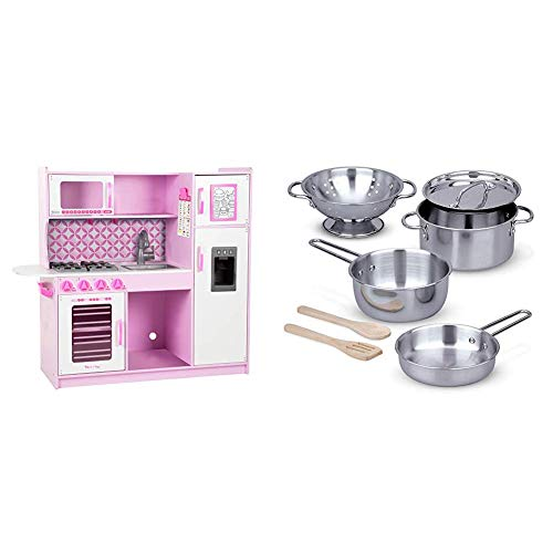 "Melissa & Doug Chef's Kitchen, Pretend Play Set, Cupcake (39"" H x 43.25"" W x 15.5"" L) & & Doug Let's Play House! Stainless Steel Pots & Pans Play Set (Best for 3, 4, 5, 6, 7 and 8 Year Olds)"