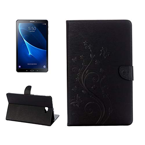 MDYHMC YXCY AYDD For Galaxy Tab A 10.1 Pressed Flowers Butterfly Pattern Horizontal Flip PU Leather Case with Magnetic Buckle & Holder & Card Slots & Wallet (Color : Black)