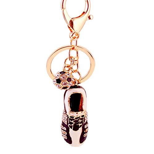 ZHTTCD Strass voetbalschoenen sleutelhanger mode metalen sieraden legering sleutelhanger ring voor fans geschenk tas portemonnee charme hanger sieraden