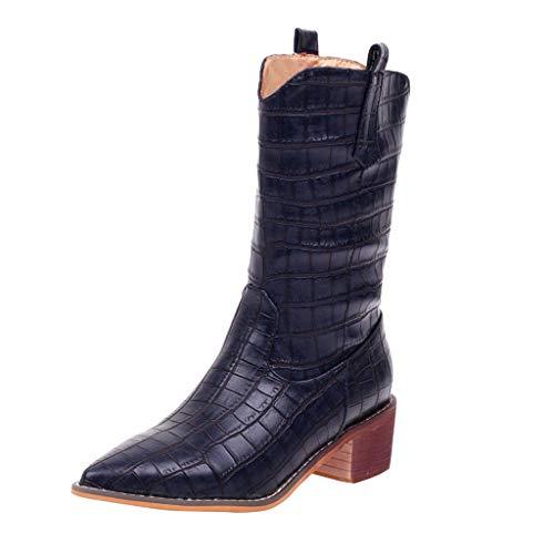 Frauen Stiefel Square Heels Wies Slip-On Casual Bestickte Rodeo Cowboy Stiefel Krokoprägung Martin Stiefel(38 EU,Dunkelblau)