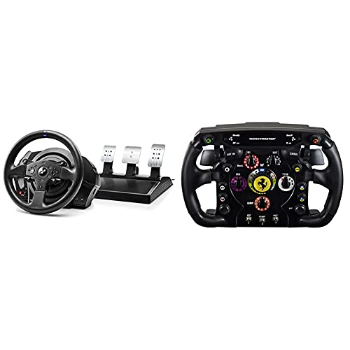 ThrustMaster T300Rs GT,Volante Y 3 Pedales,Ps4 Y Pc,Realsimulator Force Feedback,Motor Brushless + Ferrari F1 Wheel Addon (Volante Addonps4 / Ps3 / Xbox One/Pc)