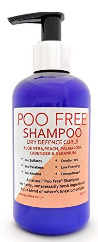 Naturel - SHAMPOOING - Cheveux Bouclés - ALOE VERA, HUILE DE PÊCHE, GÉRANIUM & LAVANDE - 250 ml de POO FREE. Sans Sulfates, Sans Parabènes. Concentré. pH Équilibré, Doux, Adapté aux Peaux Sensibles