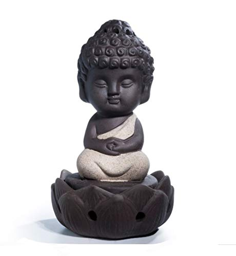 DMtse Cute Ceramic Buddha Zen Meditation Sitting Lotus Statues Buddha Figurines Incense Burner Board Ash Catcher Aromatherapy for Indoor Outdoor Home Decoration Beige Color