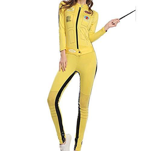 Sakurio Mono de Mujer Kill Bill Disfraz de Cosplay UMA Thurman el Disfraz de Novia Mono Amarillo de Motorista Disfraz de Halloween