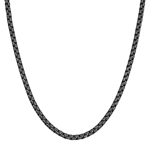 Geoffrey Beene Men's Stainless Steel Pattern Box Chain Link Necklace (Black)