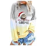 Pull de Noel Femme cerf, ELECTRI Christmas Sweat-Shirt Hiver Pullover Tops T-Shirt Femmes imprimé de Renne Wapiti de Noël Dames Chemisier Hauts à Manches Longues col Rond Vêtements Noel Femmes