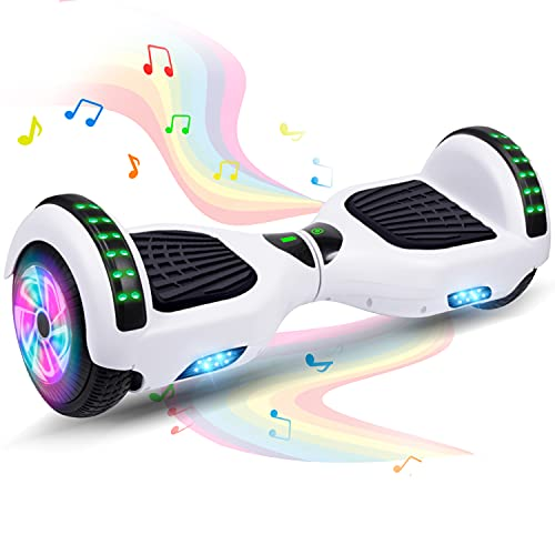 Felimoda Hoverboard, 6.5 Inch Two-Wheel Self Balancing Hoverboards - LED Light Flashing Wheel for Kids (White)