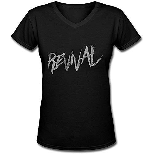 Selena Gomez The Revival Tour Logo V Neck T Shirt for Women Black