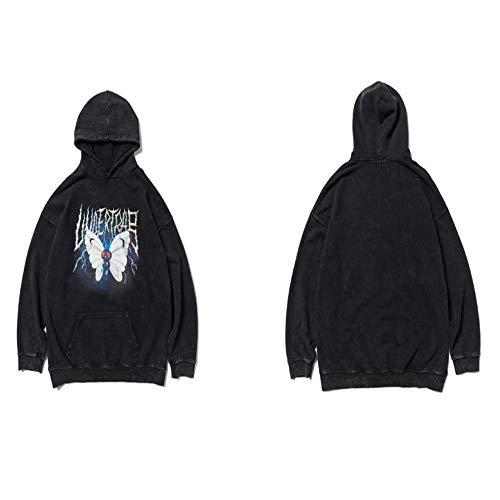 Lightning Butterfly Print Distressed Kapuzenpullover Hoodies Streetwear Hip Hop Punkrock Hipster Casual Tops Herren