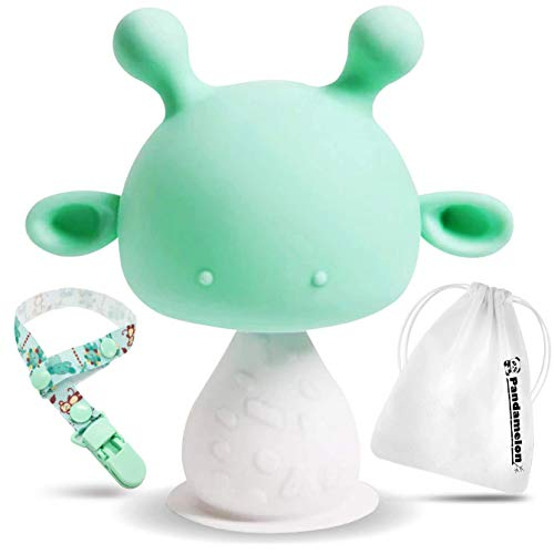 Price comparison product image Silicone Baby Teething Toys Infant Rattling Teether Soothing Pacifier,  BPA Free Teethers,  Mushroom Teether ( Green)