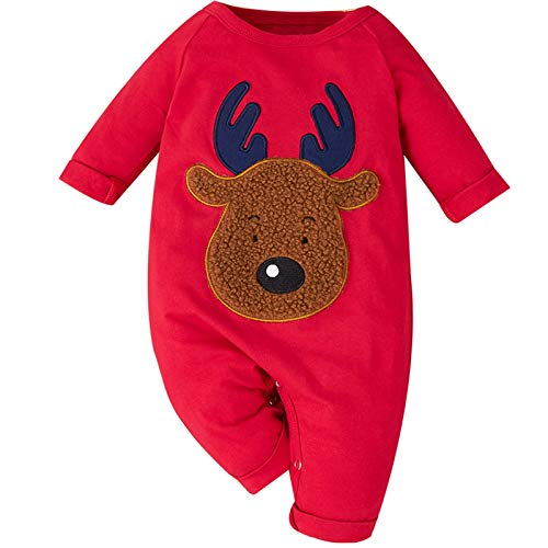 Anmino Newborn Baby Boys Girls Rompers Jumpsuit Onesie Long Sleeve Bodysuit Unisex Outfits Clothes with Reindeer Print for 0-12 Months