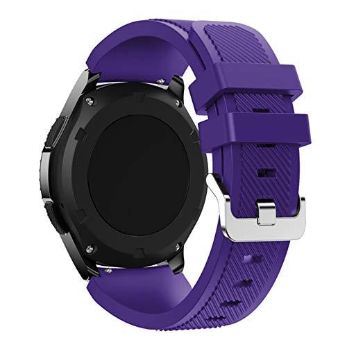 GZMYDF Correa para Samsung Galaxy Watch 46 mm/42 mm/active 2 Gear S3 Frontier para Huawei Watch Gt 2e/2 gts Correa de reloj de 20/22 mm (color de la correa: violeta, ancho de la correa: 22 mm)