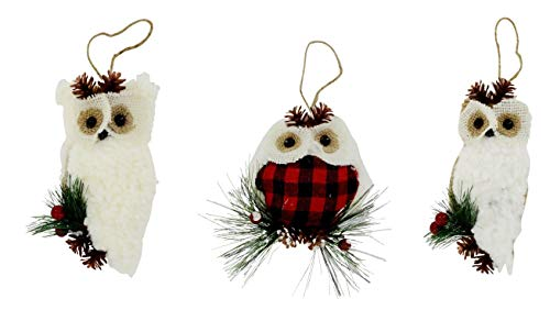 A&T Designs Set of 3 Fluffy Owl Red Buffalo Check Plaid Christmas Ornaments - Holiday, Rustic Farmhouse