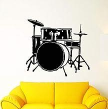 Musical Instrument Wall Sticker Removable Vinyl Drum Set Drummer Music Wall Decal Music Bar Wall Art Mural Music Decoration 57 51Cm