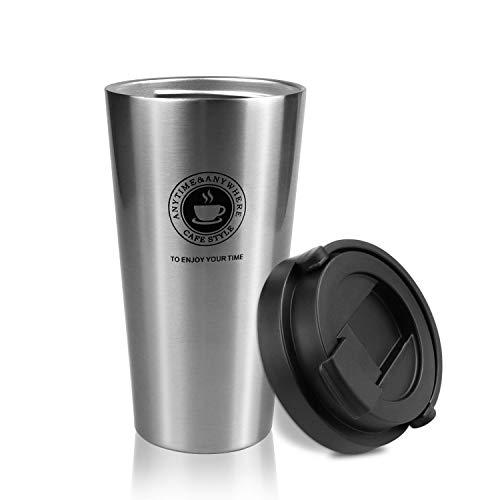 ZSTKEKE Kaffeebecher aus Edelstahl, 500ml Isolierbecher Doppelwandig mit Vakuumisolierung Thermobecher- Isolierbecher,thermo mit Auslaufsicherem Deckel für Kaffee/Tee/Wasser/Reisen/Büro