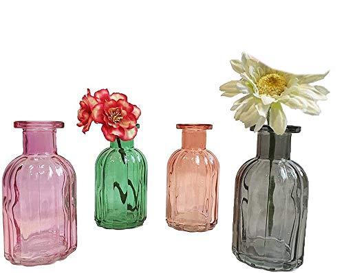 itsisa Kleine Vase Norinne XS bunt, 4er Set, Kleine Glasvase - Glasflasche, Tischdekoration, Glasvasen,