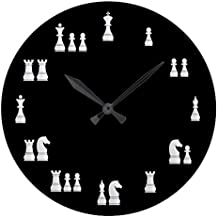Simpson Rebecca Antique Decoration Clock for Bedroom White Chess Pieces Nursery Large Wood Wall Clock for Bedroom Decor 12 Inch