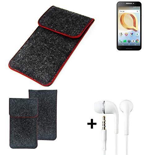 K-S-Trade Handy Schutz Hülle Für Alcatel A30 Plus Schutzhülle Handyhülle Filztasche Pouch Tasche Hülle Sleeve Filzhülle Dunkelgrau Roter Rand + Kopfhörer