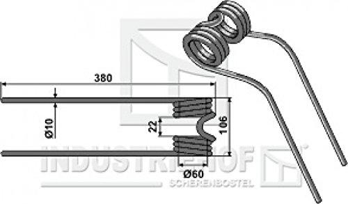 Kreiselheuerzinken 380-106-10 mm für Deutz-Fahr - Farbe Schwarz-Blau/Best.-Nr. 15-DEU-07